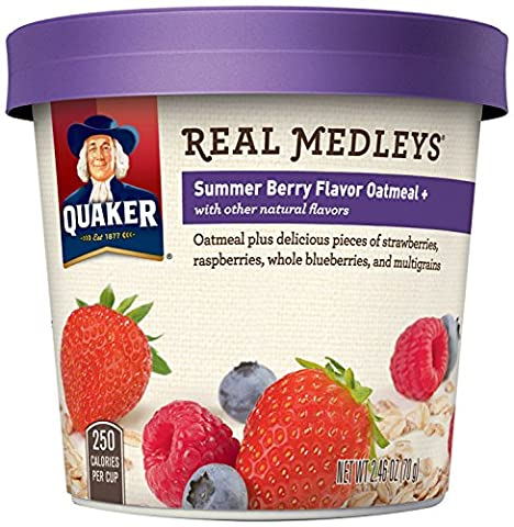 Quaker Real Medleys Oatmeal+, Summer Berry, Instant Oatmeal+ Breakfast Cereal, 2.46 oz Cup (Pack of - Plump Sweet