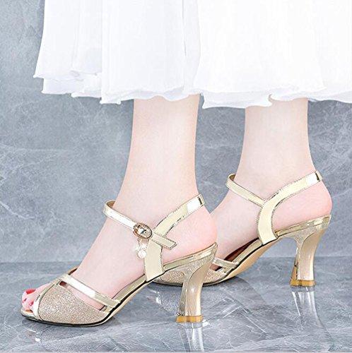Scarpe Tacco 40 Dimensioni Coreana Versione Moda Colore Sandali Nuovi di Oro Selvagge Bocca Pesce WaxSn8qwY
