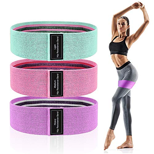 Resistance Bands for Legs and Butt, Exercise Bands Non Slip Fabric Workout Bands Booty Bands for Women, 3 Resistance…