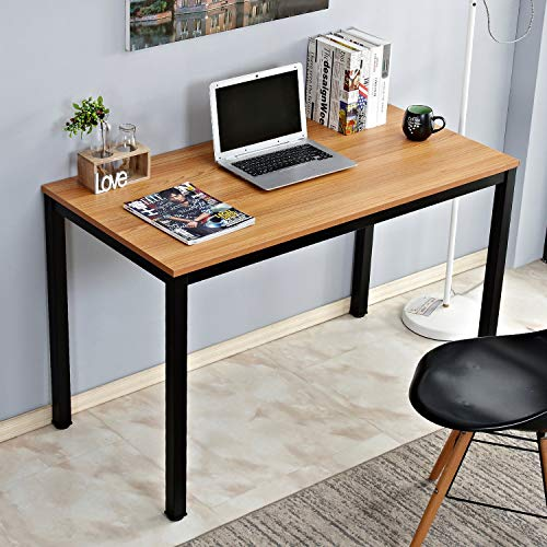 DlandHome 47 Inches Medium Computer Desk w/Cable Organizer, Composite Wood Board, Decent & Steady Home Office Desk/Workstation/Table, ND12-120TB Teak & Black Legs, 1 Pack ()