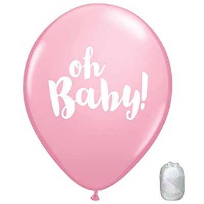 "10 Pack 11"" Oh Baby Shower Gender Reveal It's a Girl Latex Balloons with Matching Ribbons: Toys & Games"