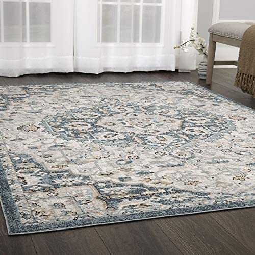 Home Dynamix Riviera Lazlo Area Rug 7 10 x10 2 , Global Medallion Ivory Blue Beige