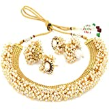 MEENAZ Gold Plated Pearl Kundan Necklace & Earrings Set For Women