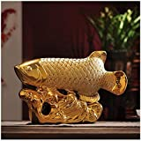 ZHF-Desktop Art Lucky Sculpture Dragon Arowana Opening Gift Hotel Office Entrance Xuan Tao Cera30mic Feng Shui Ornaments Made Fortune Fish Crafts Ornaments (Size : 43925cm)