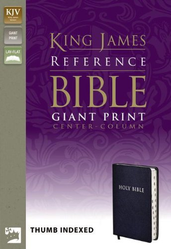 KJV, Reference Bible, Giant Print, Bonded Leather, Navy, Indexed, Red Letter Edition