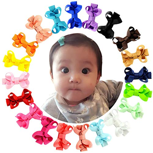 (20Pcs Small Baby Hair Bows Ribbon Clips for Girls Toddlers Kids)