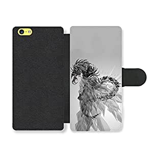 Cool Goth Rock Dragon Shape Design in Black and White Funda Cuero Sintético para iPhone 5C