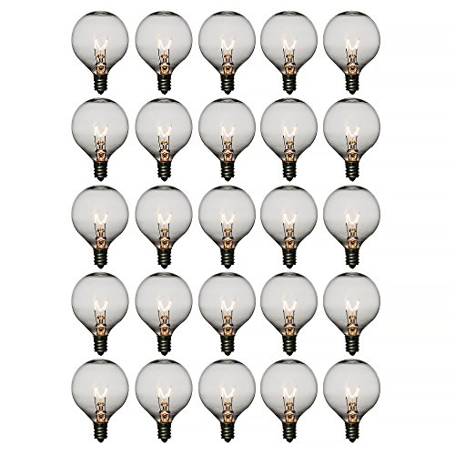 Fantado Clear 7-Watt G50 Globe Light Bulbs, E12 Candelabra Base (25 Pack) by PaperLanternStore