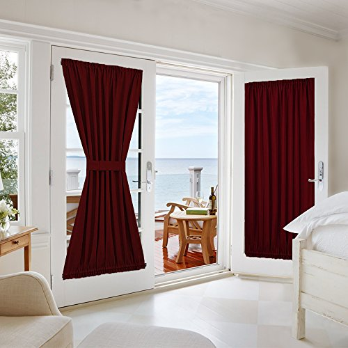 Nicetown Functional Thermal Insulated Blackout Curtain Panel for French Door - One Panel 54W by 72L Inches - - Country Curtains Outlet