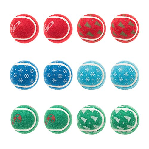 BINGPET Tennis Balls for Dogs 12 Pack 2.5 Christmas Dog Squeaky Toys