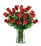 18 Red Long-Stem Roses with Vase