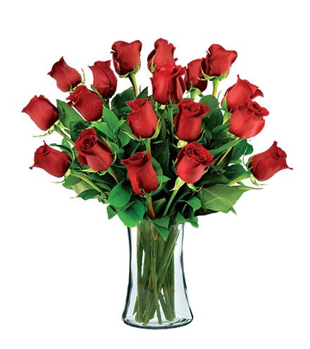 18 Red Long-Stem Roses with Vase by Flowers Sent Today
