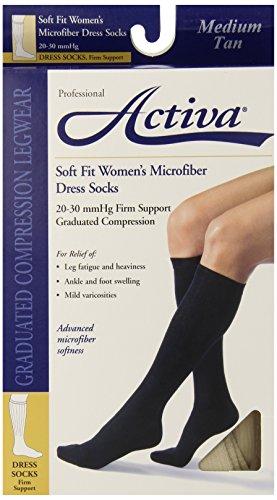 Activa 20-30 mmHg Soft Fit Knee High Socks, Tan, (Activa Support Socks)