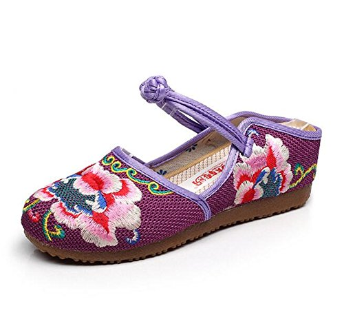 ZYZF Womens Casual Peonies Embroidery Frog Buckle Casual Womens Flats Loafer Slipper Shoes B06Y47KVT7 Shoes 87b357