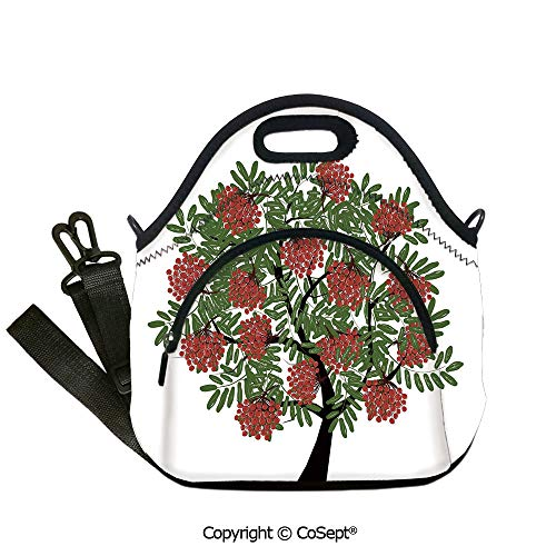 Multipurpose Neoprene Lunch Bag,Rowan Tree Full of Fruits Fresh Organic Ecology Themed Artwork,Lunch Boxes Container Tote(12.59x6.29x12.59 inch) Olive Green Dark Coral Black