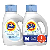 Tide Free and Gentle Liquid Laundry Detergent, 2 Pack of 50 oz., Unscented and Hypoallergenic for Sensitive Skin, 64 Loads