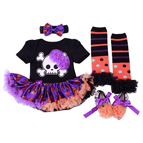 Baby Girls Halloween Romper Dress Outfits Clothes (Purple, (Halloween Dress For Girl)