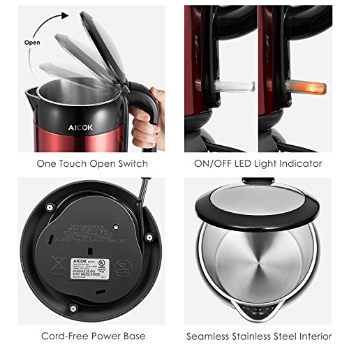 Electric Kettle Double Wall Cool Touch Tea Kettle, Full Stainless Steel Inside, 1.7L 1500W Fast Water Kettle with Auto Shut-Off & Boil Dry Protection, Cordless BPA Free Boiler by Aicok