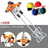 Electric Mortar Mixer, 1400W Heavy Duty Double Agitators Mortar Mixing Stirring Tool, Counter-Rotating, Handheld Twin Paddle Pro Mixer for Paint Cement Grout Plaster