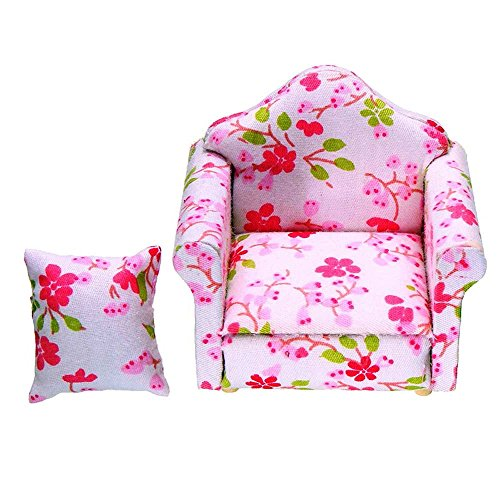 Miniature 1:12 Pink Floral Armchair Single Sofa Toys Furniture Ornaments Christmas Gift ZevenMart DIY Dollhouse Accessories