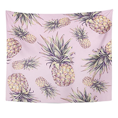 Emvency Tapestry Green Beach Pineapple on Pink Watercolor Colourful Tropical Fruit Summer Yellow Organic Home Decor Wall Hanging for Living Room Bedroom Dorm 50x60 inches by Emvency