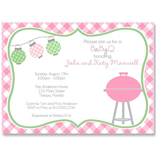 Baby Shower Invitations, Baby-Q, Girls, Pink, Gray, Gingham, Picnic, Barbecue, Couples, Sprinkle, Grill, BBQ, Personalized, Customized, BabyQ, Pack of 10 Printed Invites & Envelopes]()