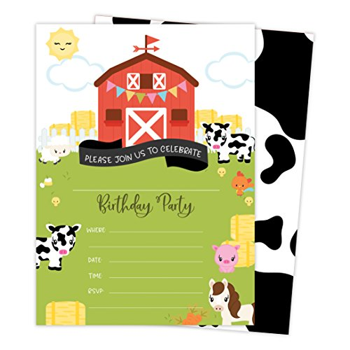 Barnyard Farm Style 2 Happy Birthday Invitations Invite Cards (25 Count) with Envelopes and Seal Stickers Boys Girls Kids Party (25ct) (Birthday Farm Party Invitation)