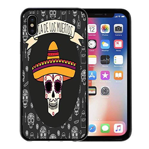 Emvency Phone Case for Apple iPhone Xs Case/iPhone X Case,White Dia Colorful Skull in Sombrero on Halloween Tombstones Soft Rubber Border Decorative, Black