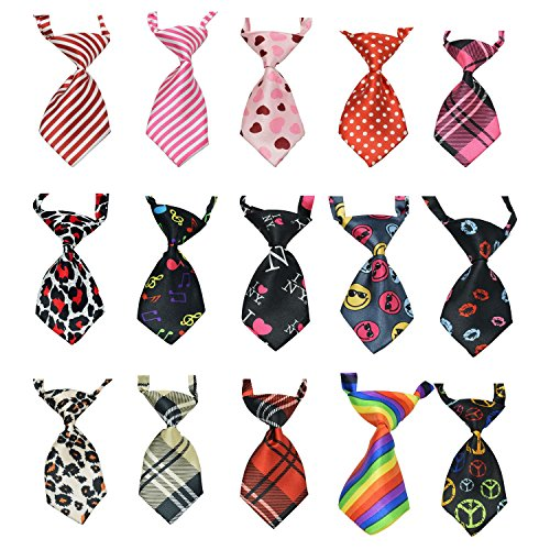 15Pcs/Pack Baby Boys Pet Necktie for Cat Dog Tie Collar Assorted Cute Style Adjustable by CHTIE