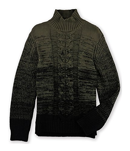 Calvin Klein Jeans Men's Ombre Cable Knit Turtle Neck Sweater, Black, Large by Calvin Klein