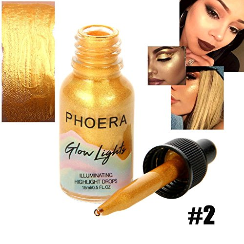 Hanyia Glow Lights Illuminating Liquid Highlight Drops Brighten Contour Glitter Shimmer Highlighter For Face and Eyes Makeup – 24K Gold