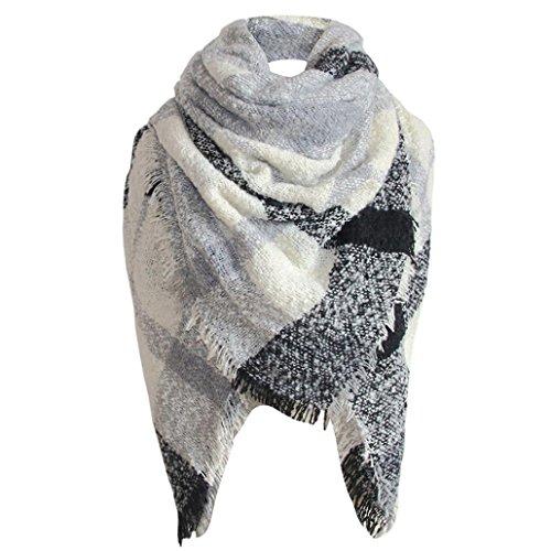 (Plaid Blanket Scarf, SUKEQ Stylish Women Oversized Tartan Check Scarf Winter Warm Tassels Square Long Wrap Shawl (E))