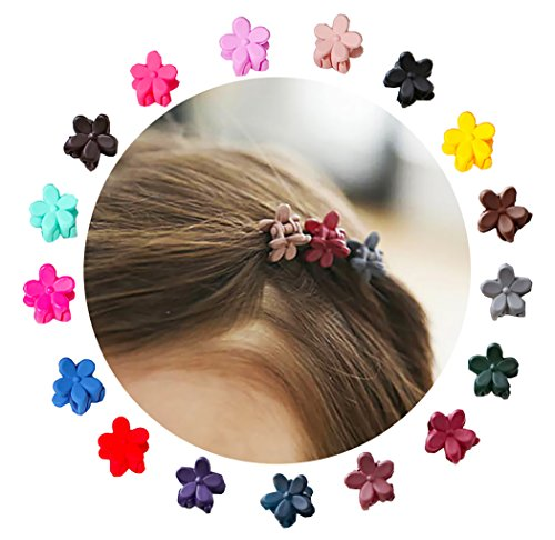 Colored Pin Flower (Angirl 57pcs Baby Girls Flower Bangs Mini Hair Claw Clips Hair Pin Mix Colored)