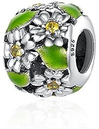 Poetic Cherry Blooms Flower Dangle 925 Sterling Silver Bead For European Charm Bracelet