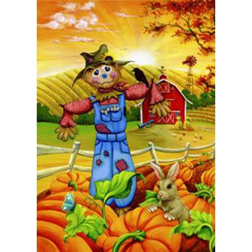 Toland Home Garden Scarecrow Buddies 12.5 x 18 Inch Decorative Fall Autumn Pumpkin Farm Garden Flag ()