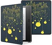 Capa, WB, Ultra Leve, Sensor Magnético, Couro, Luzes, Kindle Oasis 10ª e 9ª