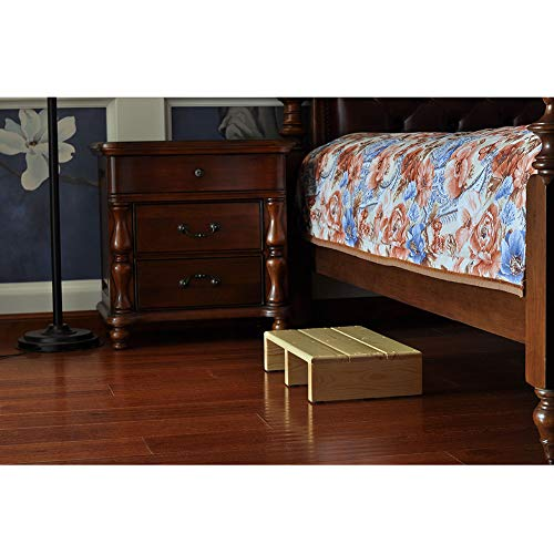 """Ecrocy Wood Bed Side Step Indoor & Outdoor Mobility Step for Seniors, Toddlers,Pets and More - 19.7"""" L x 11.8"""" W x 4.3"""" H (Burlywood)"""