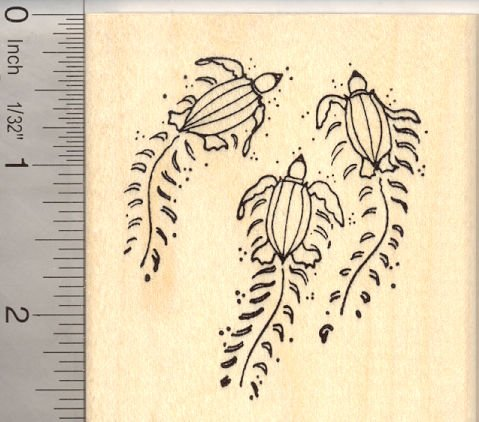 Leatherback Sea Turtle Hatchlings on beach Rubber Stamp
