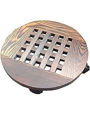 Macetero de madera con ruedas, base de maceta con ruedas, bandeja de rodamiento, soporte de maceta redondo, carbonización gruesa, resistente a la corrosión