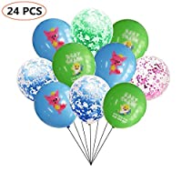24 pcs Cute Shark Balloons Party Supplies,12 Inch Large Latex Helium Balloons, Balloons For Shark Theme Birthday Party Decorations.