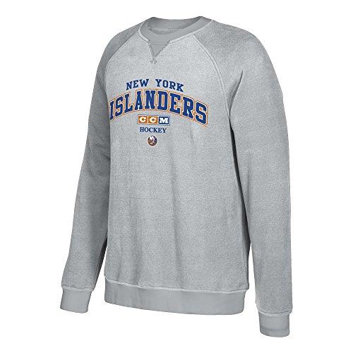 adidas NHL New York Islanders CCM Practice Fleece Crew, Small, Stone ()