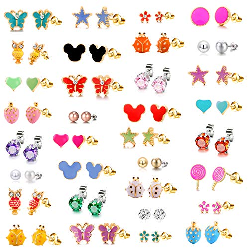 Earring Butterfly Stud Set (33 Pairs 18K Gold Plated Mixed Colorful CZ Earrings Flower Cute Animal Butterfly Mouse Heart Shape Star Lollipop Ladybug Faux Pearl Stud Earring Set New Year Christmas Gift for Girls Kids)