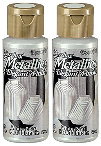 2-Pack - DecoArt Dazzling Metallics Acrylic Colors - White Pearl, 2-Ounces ()