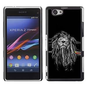 Be Good Phone Accessory // Dura Cáscara cubierta Protectora Caso Carcasa Funda de Protección para Sony Xperia Z1 Compact D5503 // Beautiful Majestic Lion Rasta