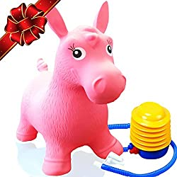 Flash Sale | Inflatable Horse Bouncer - Cutest Ride-on Bouncy Animal Hopper for Kids with Best Eco-Friendly Rubber - Compatible with Gymnic Rody Toys: Bouncing Reindeer, and Hopping Ball (Pink)