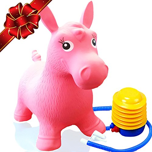 Flash Sale | Inflatable Horse Bouncer - Cutest Ride-on Bouncy Animal Hopper for Kids with Best Eco-friendly Rubber - Compatible with Gymnic Rody Toys: Bouncing Reindeer, and Hopping Ball (Pink) (Horse Chair)