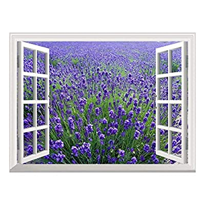 Wonderful Expertise, Removable Wall Sticker Wall Mural Lavender Field Creative Window View Wall Decor, Made For You