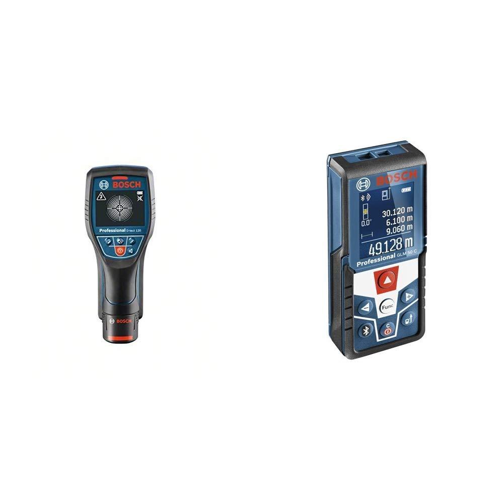 1x 1,5 Ah Akku, Schnellladeger/ät, L-BOXX, Ortungstiefe max: 120 mm, 12 Volt /& Professional Laser Entfernungsmesser GLM 50 C Bosch Professional Ortungsger/ät D-tect 120
