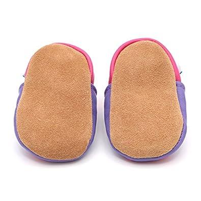 Dotty Fish Chaussures en Cuir Souple b/éb/é et Bambin 0-6 Mois 3-4 Ans Dessins de Filles avec des Coeurs