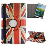 DAMINFE Case for GALAXY Tab S 8.4 , Cover for GALAXY Tab S 8.4, Leather Case for GALAXY Tab S 8.4, Stand Case for GALAXY Tab S 8.4,360° Rotation Slim PU Leather Protective Case Cover UK Flag Printed with Elastic Band Closure for Samsung Galaxy Tab S 8.4 (T700)